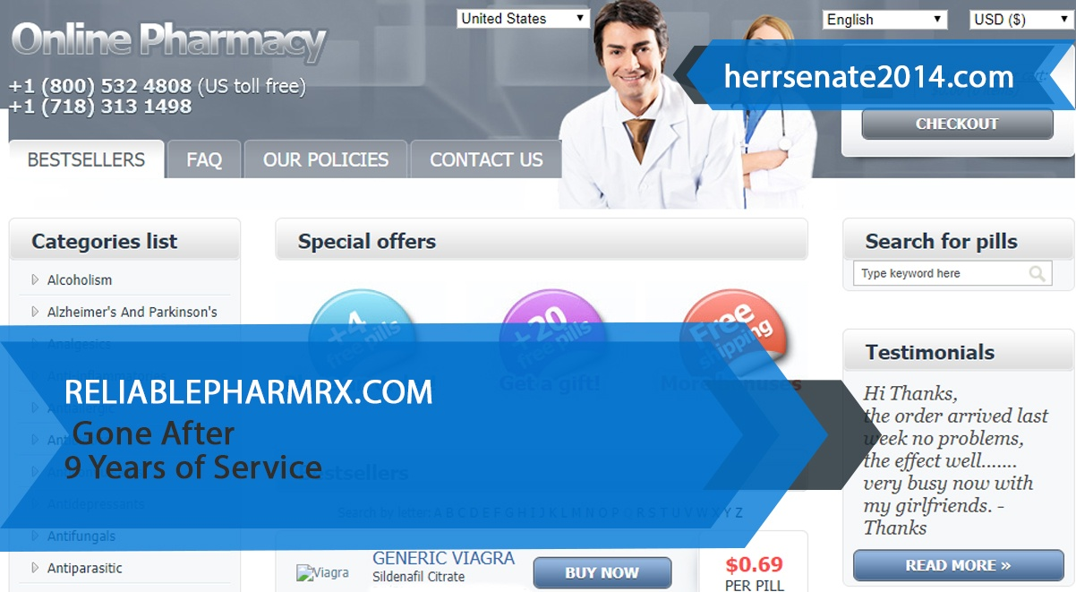 Reliablepharmrx.com Review – Gone After 9 Years Of Service