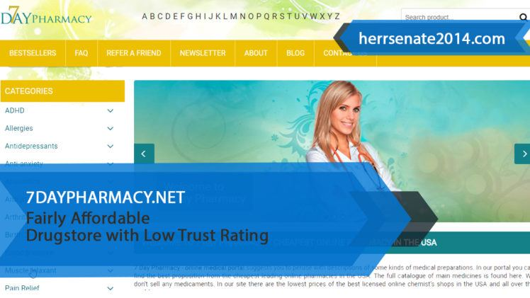 7daypharmacy.net Review – Fairly Affordable Drugstore with Low Trust Rating