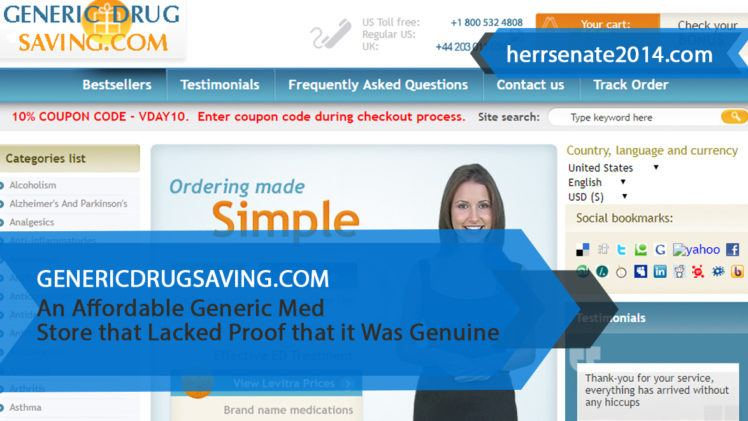 Genericdrugsaving.com Review – An Affordable Generic Med Store that Lacked Proof that it Was Genuine