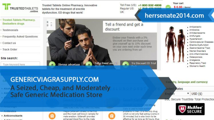 Genericviagrasupply.com Review – A Seized, Cheap, and Moderately Safe Generic Medication Store