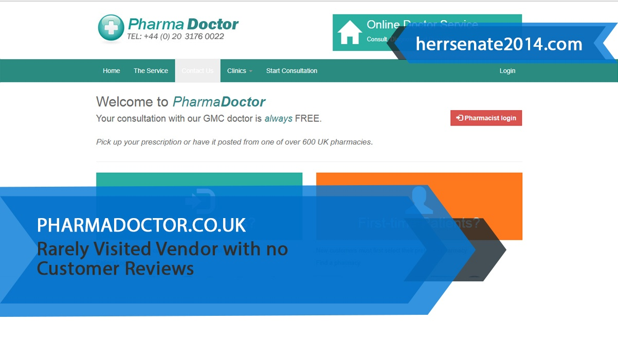 Pharmadoctor.co.uk Review – Rarely Visited Vendor with no Customer Reviews