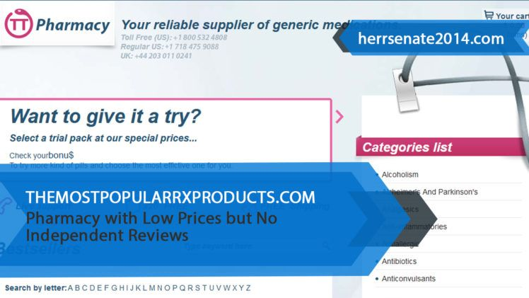 Themostpopularrxproducts.com Review – Pharmacy with Low Prices but No Independent Reviews